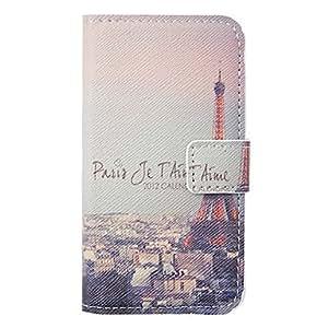 SHOUJIKE Cartoon Eiffel Tower Pattern Leather Hard Case for iPhone 4/4S