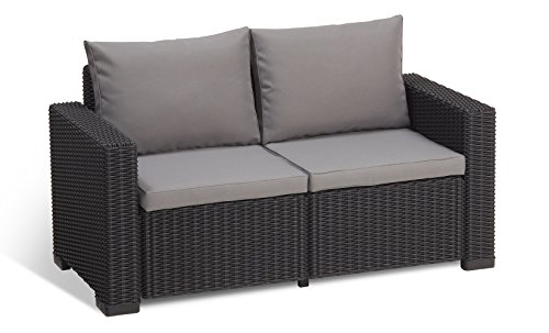 Keter California All Weather Outdoor 2-Seater Patio Sofa Loveseat with Cushions in a Resin Plastic Wicker Pattern, Graphite/Cool Grey (Sets Loveseat Patio Cushion)