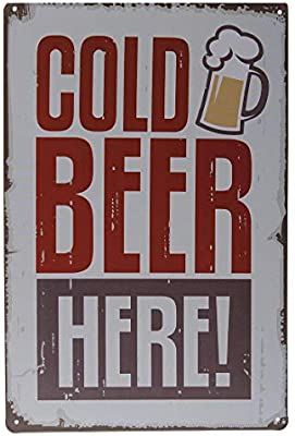 Doitsa 20 x 30cm 1pcs Placas Decorativas Metalicas para Puertas Vintage Cartel de Pared Tin Sign Esta/ño para Bar Cafeter/ía Cold Beer Here