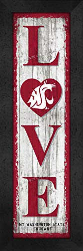 Prints Charming College Love My Team Logo in Heart Vertical Washington State Cougars Framed Posters 6x22 Inches