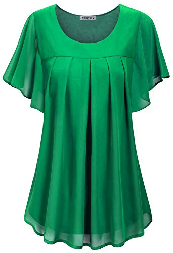 MOQIVGI Dressy Shirts for Women,Fashion 2019 Boutique Cute Figure Flattering Round Neck Frill Sleeve Work Tops Office Modest Chiffon Tunic Blouses Ladies Spring Summer Clothes Green XX-Large ()