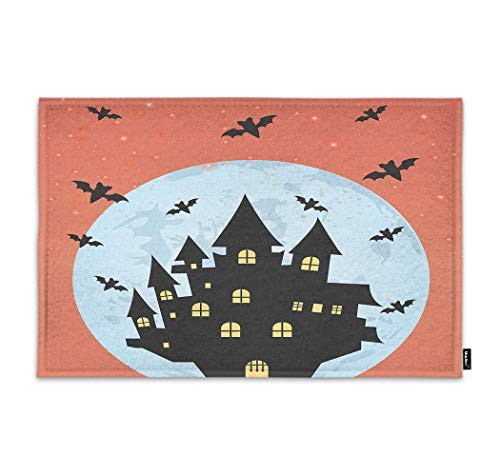 Moslion Halloween Door Mat Halloween Horror Castle Witch Spider Bat Night Moon Star Doormat Indoor Front Fun Door Mat Inside Large Bathroom Non Slip Mat 18x30 Inch Orange Black ()
