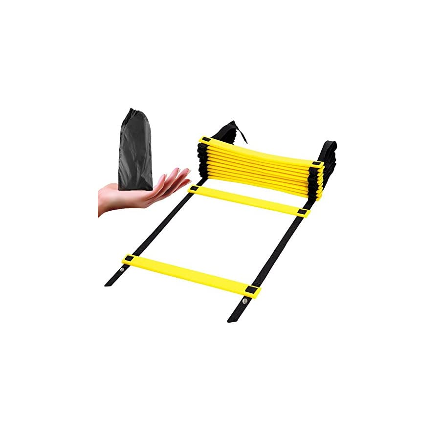 Deruicent Agility Ladder, Adjustable and Durable Speed Ladder with a portable bag for athletic training, football, soccer, basketball drills,leg strength,core skills,balance,and body control(12 Rung)