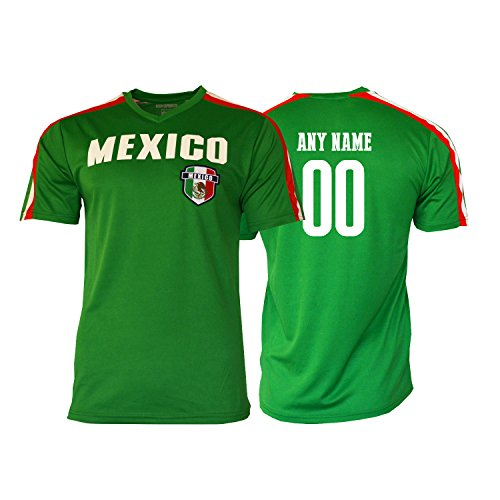 Pana Mexico Sports Jersey Flag Mexican Youth KidsTraining Custom Name and Number Soccer Any Celebration World cup Olympic (Green, YL)