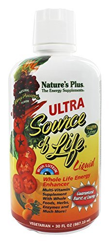 Natures Plus Ultra Source of Life Liquid - 30 fl oz - Whole Food Multivitamin for Overall Health & Energy, Eye Support Supplement - Vegetarian, Gluten Free - 30 Servings