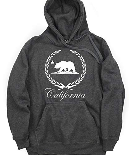 CaliDesign Charcoal Grey California Graphic Hoodie Cali Logo Sweatshirt, 3XL - XXXL - 3X (Supreme Grey On Grey Box Logo Hoodie)