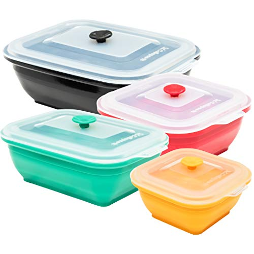 Collapse-it Silicone Food Storage Containers, 4 Piece Rectangle Set - 6 Cup, 4 Cup, 3 Cup, and 2 Cup Size Capacity - Oven, Microwave, and Freezer Safe (Assorted Variety) ()
