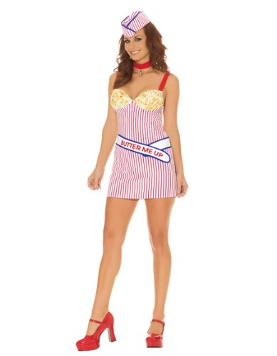 [Elegant Moments EM-9958 Buttery Babe Four PC Costume. Red/White/Blue M] (Popcorn Costume)