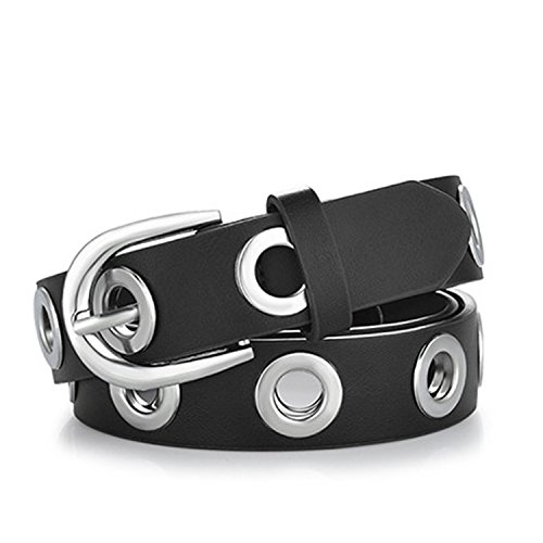 Felds Belts for Women Grommet Duo euramerican style designer pu Leather strap for ladies jeans accessories black silver 100cm