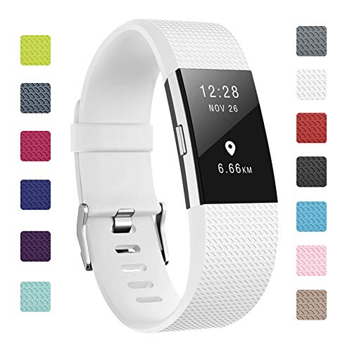 Soulen Bands Compatible with Fitbit Charge 2, Classic & Special Edition Replacement Band Fitbit Charge 2, Large Small, for Women Men (A# 1pack White, Small (5.7