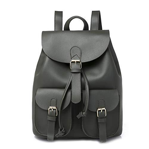 Green Dark School Lady Leather Backpack Womens Tote Ybriefbag Shoulder Rucksack Lightweight Bag Drawstring PU YOx7Rp