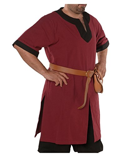 Loki Medieval Viking Cotton Half-Sleeve Tunic by Calvina Costumes - Made in Turkey -BRG/BLC XL