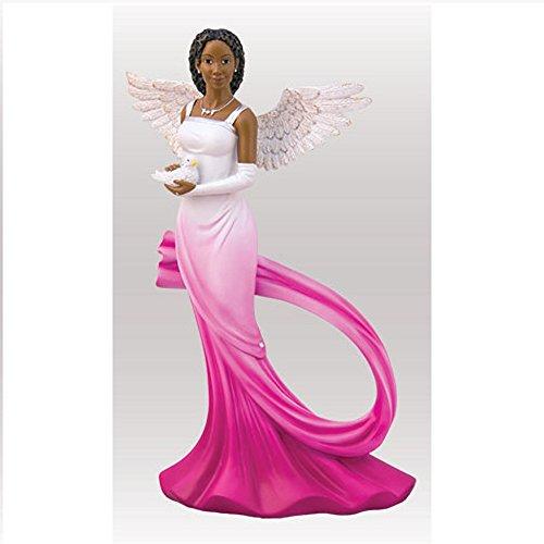 (Sash Angel in Fuchsia African American Angel Statue by Ebony Treasures 11.75 inches)