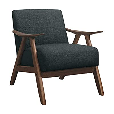 Lexicon Fabric Accent Chair, Dark Gray - Retro inspired accent chair (assembly required) Well crafted wood frame in walnut Finish Dark Gray polyester upholstery fabric - sofas-couches, living-room-furniture, living-room - 41VuNEukGpL. SS400  -