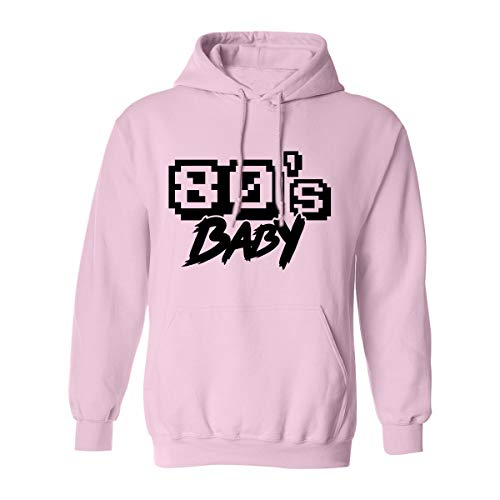 80's Baby (Black Text) Adult Hooded Sweatshirt in Pink - Large