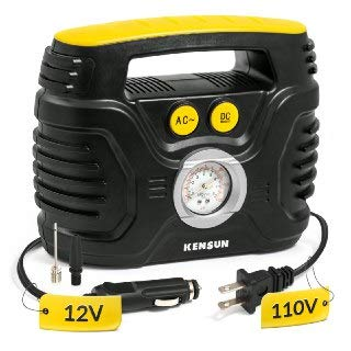 Kensun Durable Easy-to-Operate Dual Power Portable Tire Inflator Air Compressor for Use from Home Outlet (110V AC) & Car…