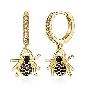 Huggie Hoop Earrings for Women, S925 Sterling Silver Post 14K Gold Plated Evil Eye Star Butterfly Spike Cross Hoop…