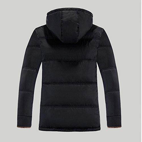 Down Coat Long Fur Lined Hooded Jacket Men's Black Faux Thicken Removable qIwPxFB