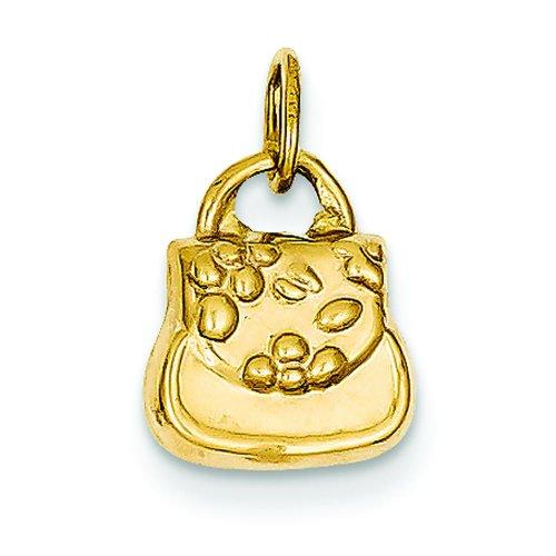 14k Gold Handbag Charm (14K Yellow Gold 3D Purse Charm Ladies Handbag Pendant)