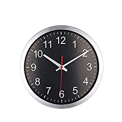 Foxtop 10 Inch Stainless Steel Round Silent Sweep Non-ticking Quartz Wall Clock with Black Dial and Red Second Hand - Silver