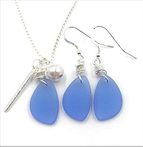SET! Best Seller Dusty Periwinkle Blue Sea Glass Earrings and Charm Necklace on Sterling Silver Chain and Earrings on Sterling Silver Hooks, by Aimee Tresor