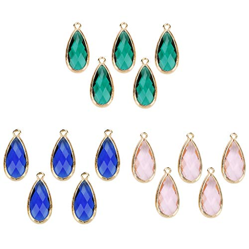 (Prettyia 15Pcs Clear Crystal Teardrop Mesh Pendants Shiny Glass Crystals Beads for DIY Necklace Earrings, Jewelry Making)