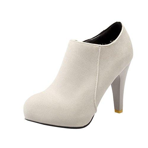 Carolbar Womens Plus Size Zip Fashion High Heel Sexy Dress Ankle Boots Grey vxZK3IzPj