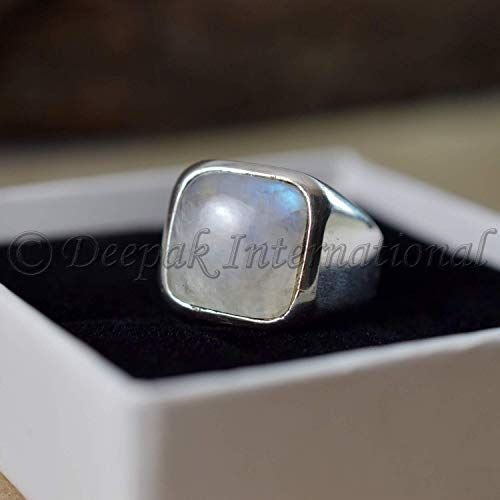 Natural Rainbow Moonstone Rings Solid 925 Sterling Silver Jewelry Square Shape Gemstone Rings Natural Rainbow Moonstone Man's Rings Handmade Rings Wedding Rings