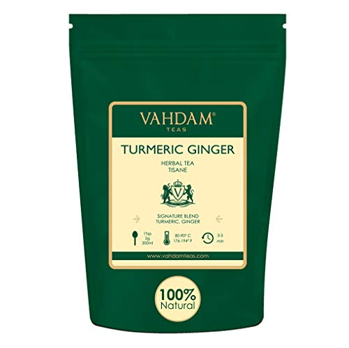 VAHDAM, Turmeric + Ginger POWERFUL SUPERFOOD Blend (100 Cups) Herbal Tea | POWERFUL Wellness & Healing Properties of TURMERIC & GINGER | 100% NATURAL | Brew as Hot or Iced Tea | 7oz from VAHDAM