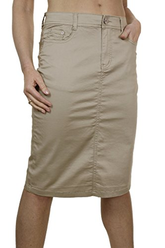 Ice (2516-3) Plus Size Stretch Chino Sheen Jeans Style Skirt Beige (Next Denim Skirt)