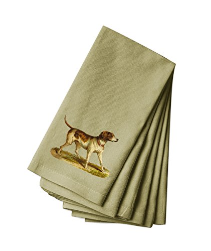Style in Print Canvas Napkin Set Of 4 Hunting Dog With Red Collar Pets Animals by Style in Print