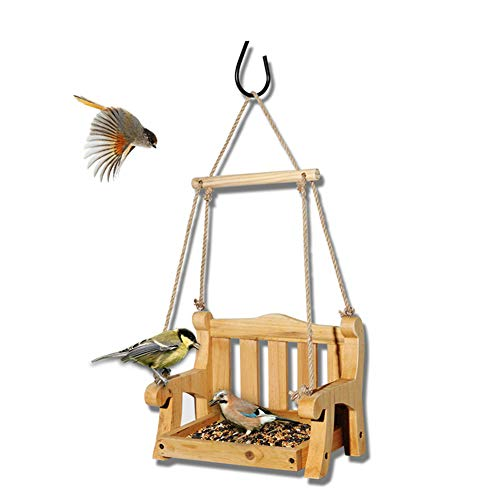 DOOKK Bird Feeder Chair Bird Feeder for Outside Outdoor Wooden Bird Feeder Swing Chair Wild Bird Feeder Porch Decorative 23.5X16X48