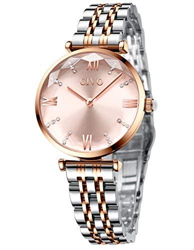 CIVO Women Watches Ladies Waterproof Stainless Steel Minimalist Analogue Rose Gold Wrist Watch Dress Elegant Casual…