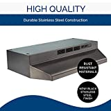 Broan-NuTone F4030BLS Convertible Range Hood Insert with Light, Exhaust Fan for Under Cabinet, 6.5 Sones, 160 CFM, Black Stainless