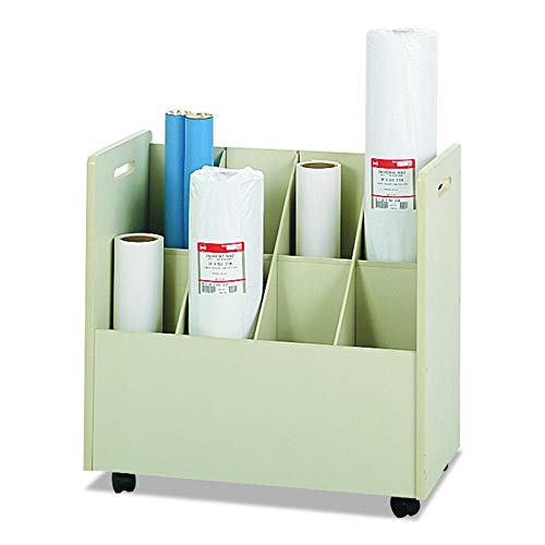 (Safco Products 3045 Mobile Roll File, 8 Compartment, Putty)