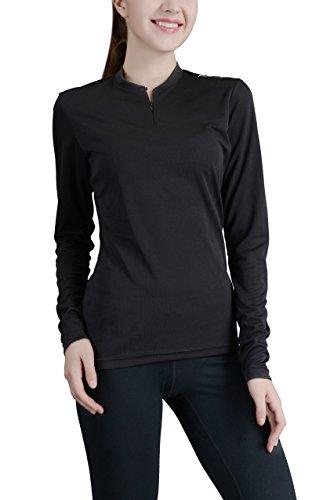 Przewalski Women's Cycling Biking Jersey, Long Sleeve Bike Shirt, Breathable & Quick Dry (Small, Black) (Cycling Womens Sleeve Long Jersey)
