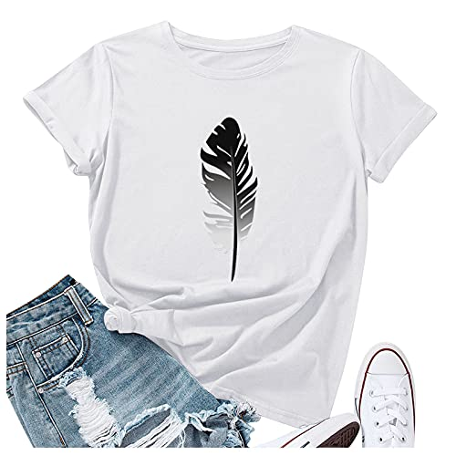Balakie Womens Short Sleeve Tops, Womens Loose T-Shirts Casual Feather Printing O-Neck Blouse Tops Funny Shirts