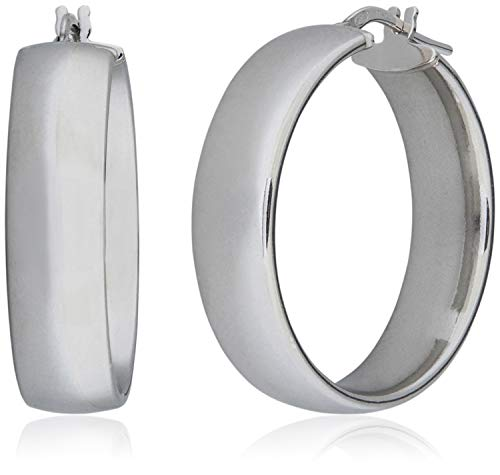 SilverLuxe Sterling Silver Wide Band Hoop Earrings 28mm Made in Italy