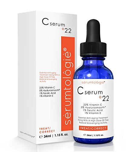 serumtologie® C serum º22 -Max Anti Aging 22% Vitamin C serum Moisturizer - Anti-Wrinkle - 5% Hyaluronic Acid, 1 % Vitamin E, 1% Ferulic Acid Combine to Form the Most POTENT Daily Age Defying Treatment Available Highest Concentration of Clinically
