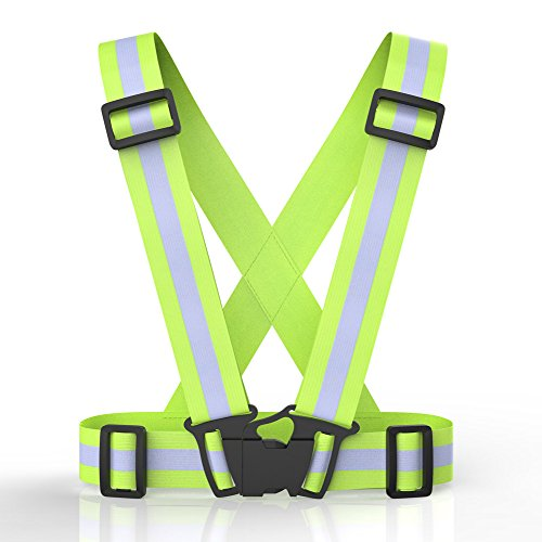Reflective Running Gear, Safety Vest Armband or Ankle Bands High Visibility Adjustable Belt Set Lightweight Portable for Runner Outdoor Running, Motorcycle Riding, Cycling, Walking and Hiking