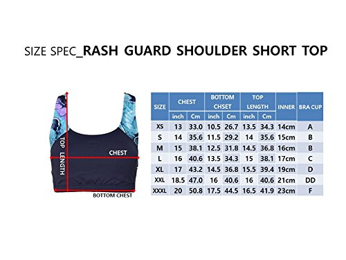 Private Island Hawaii Women UV Rash Guard Shoulder Signiture Short Top Sun Protection Swimming Suit Navy with Blue Gold Spot Medium by Private Island Hawaii (Image #4)