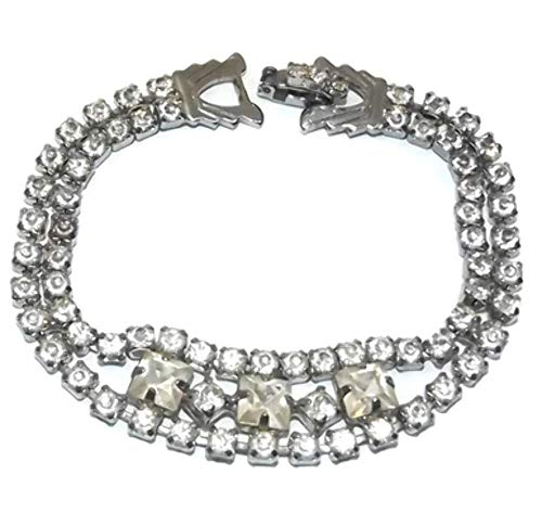 (Vintage Signed Weiss Silver Tone Tennis Bracelet with Square Rhinestones)