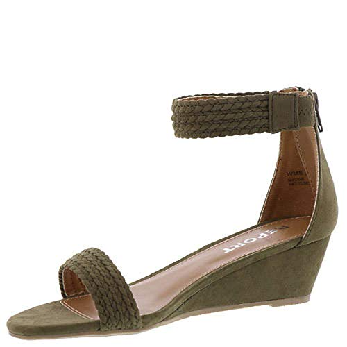 Report Womens Madge Open Toe Casual Ankle Strap Sandals, Olive, Size 6.0 ()