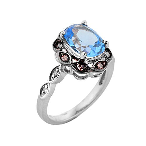 (Elegant White and Coffee Diamond Engagement/Proposal with Personalized Blue Topaz Birthstone Ring in Sterling Silver (Size 10.75))