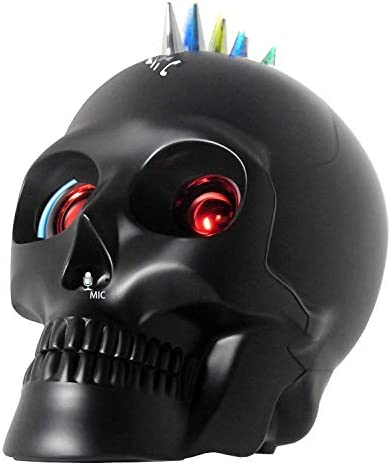 Bluetooth Skull Speaker with Wireless Device and Mic Calling for iPhone11 XR Xs,iPad,Samsung Android Phone Halloween Decor Gift Matt Black