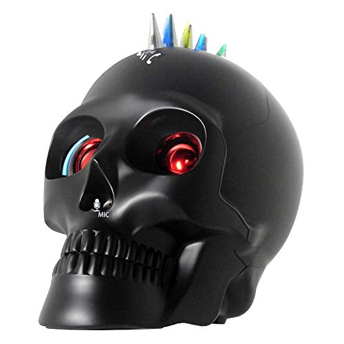 Skull Bluetooth Speaker, Wireless Portable Speakers with LED Lights Dancing Fuction USB Rechargeable Make Phone Call for iPhone X/Xs,iPad,Samsung Android Phone and Computer (Misty Black) ()