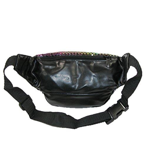 CTM® Womens Sequin Sparkling Mesh Fanny Waist Pack