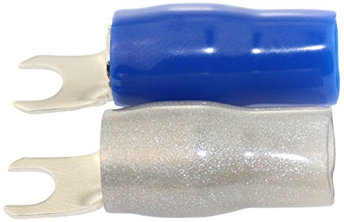 Barrier Spade Terminal - Bullz Audio (BBS4BG) Platinum/Blue/Gray 4-Gauge Barrier Spade Terminal - Pair