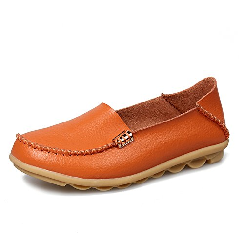 on Loafers Soft Shoes Casual Driving Genuine Low fereshte Orange Slip Fashion Flat Womens Shopping for cut soled Leather q0wfWxgHI