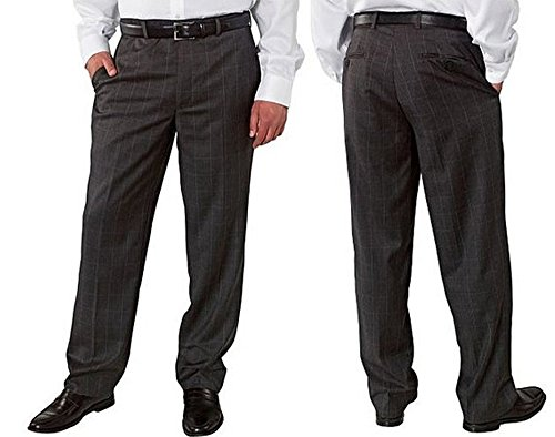 Kirkland Signature Men's 100% Wool Flat Front & Pleated Dress Pants (Charcoal Plaid, 30W x 32L)
